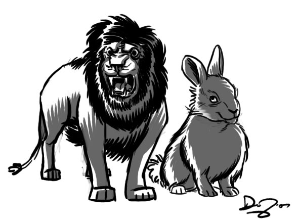 lion and rabbit
