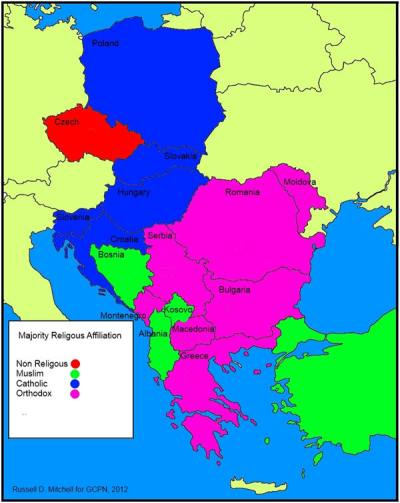 Majority Religious Affiliation - E &C Europe map