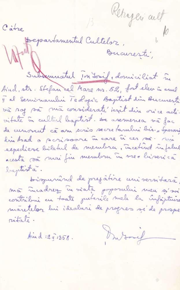 Iosif Ton - Scrisoare de retragere din cultul baptist - 1958