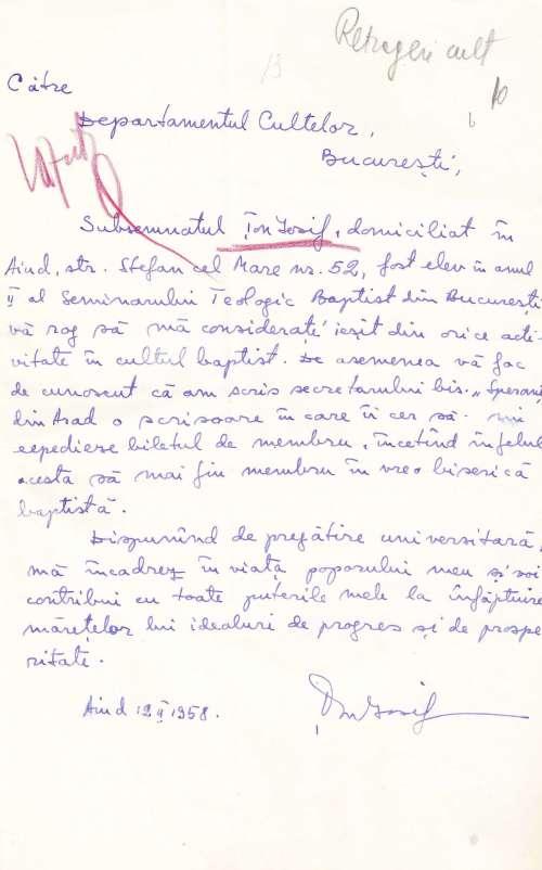 1958 - Iosif Ton - Scrisoare de retragere din cultul baptist