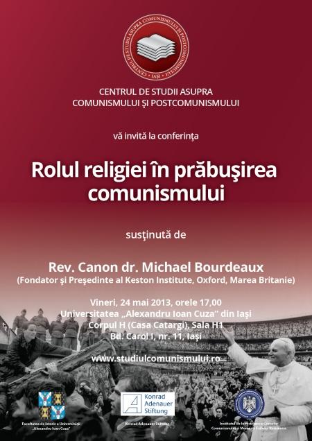 CSCP_Rolul religiei in prabusirea comunismului_Afis conf MBourdeaux-24 mai 2013