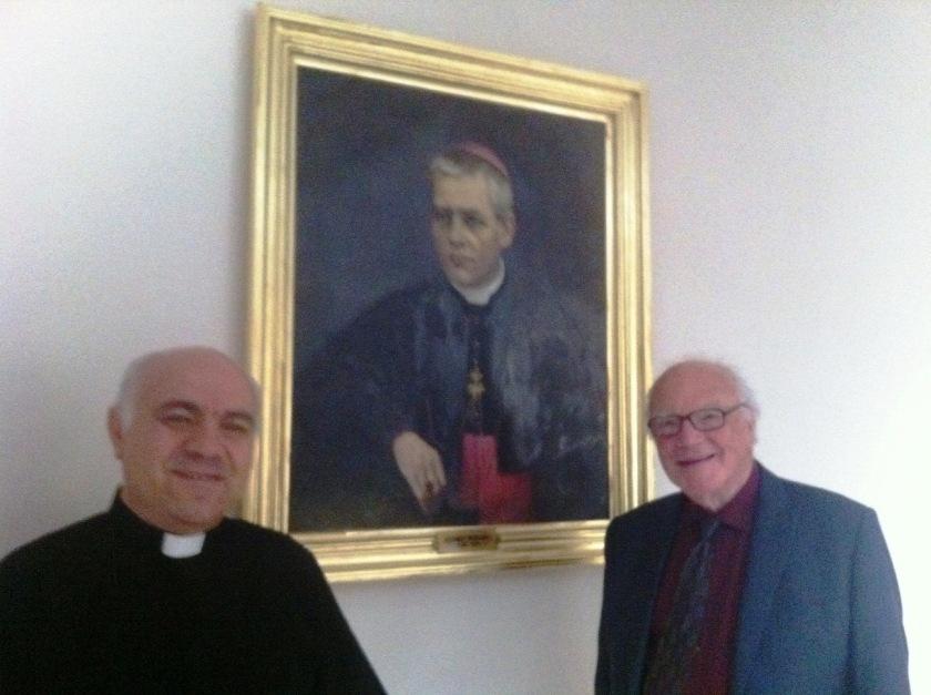 Fr, Cornel & Michael with portet of martired bishop Anton Durkovici