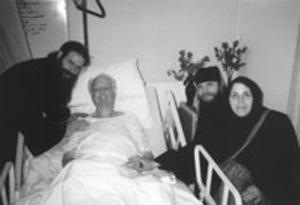 Fr Damascene, Fr Gerasim, and Mother Nina visit Pastor Wurmbrand in the nursing home, in July 1998