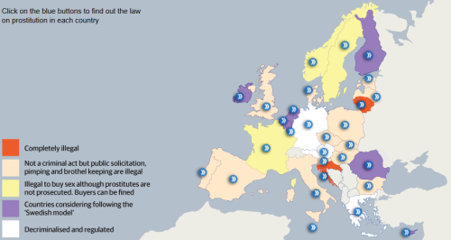 How prostitution is dealt with across Europe - map