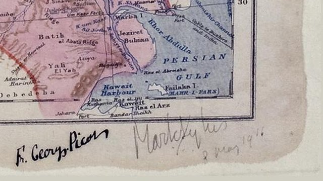 Middle East map - 8 May 1916 - signatures