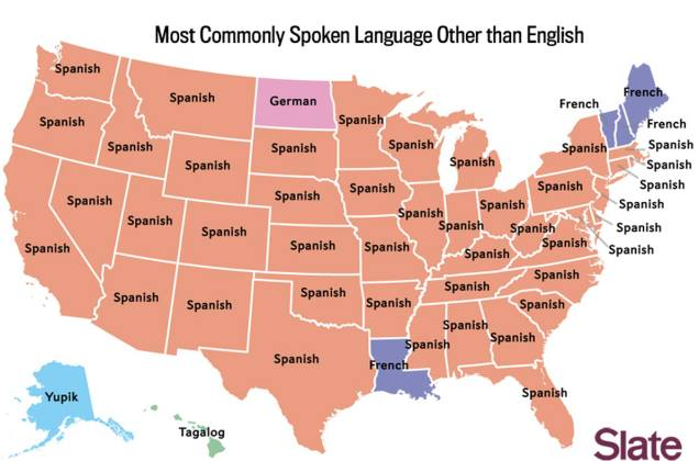 US map - Most Commonly Spoken Language Other Than English