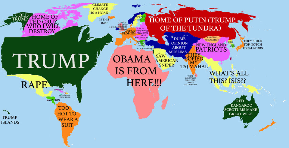 The Map Of World According To A Delusional American