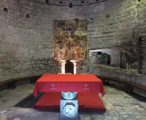 Basilica of Saints Nereus and Achilleus, an underground altar where the Catacomb Pact was signed at a Mass on Nov. 16, 1965. Religion News Service photo by Grant Gallicho