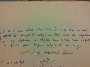 O strofă dintr-o poezie scrisă de Ionatan în 1984