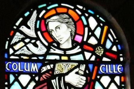 St Columba, stained glass at Iona Abbey