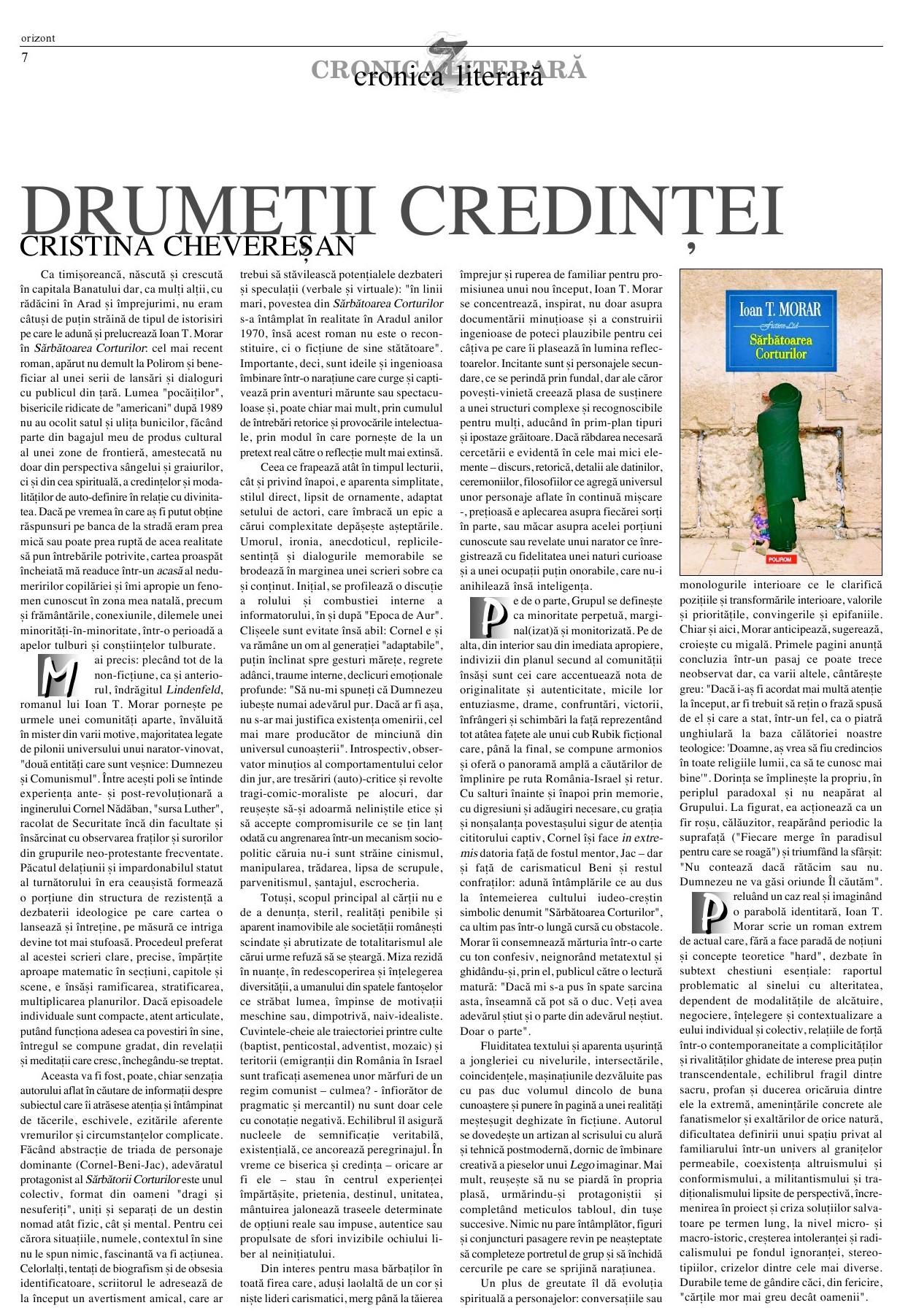 Recenzie IT Morar, Sarbatoarea corturilor - Orizont, unie2016
